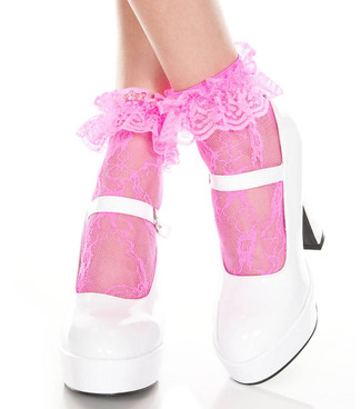 Hot Pink Lace Ruffle Ankle High by Music Legs ML-574