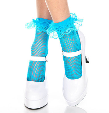 Turquoise Fishnet Ankle High with Ruffle Trim by Music Legs ML-597