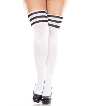 Music Legs 4245Q Plus Size Athletic Striped Thigh Highs color White/Black