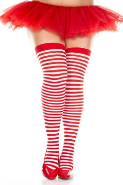 Plus Size  Red/White Striped Thigh Highs Stocking by Music Legs ML-4741Q