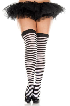 Black/White Striped Thigh Highs Stocking by Music Legs ML-4741Q
