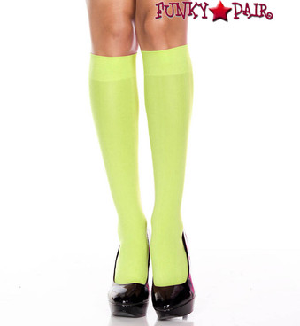 ML-5747, Opaque Green Knee High Socks by Music Legs