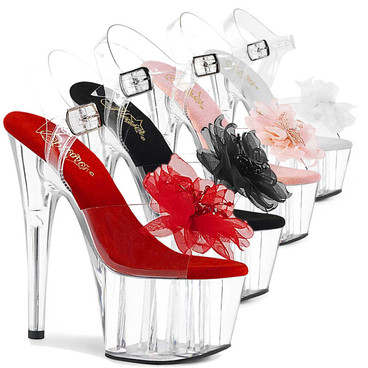 Pleaser | Adore-708BFL, Platform Sandal with Sheer Flower