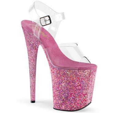 Flamingo-808CF, 8 Inch Confetti Platform Sandal by Pleaser