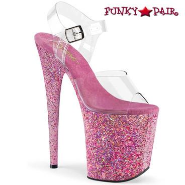 Pleaser | Flamingo-808CF, 8 Inch Confetti Platform Sandal