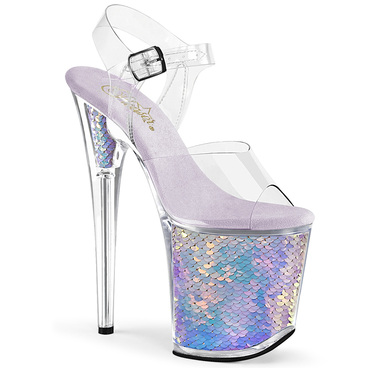 Flamingo-808MC, 8 Inch Holographic Mermaid Scales by Pleaser