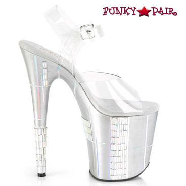 Pleaser | Flamingo-808SHAPE-2, Holographic Lines and Rhinestones