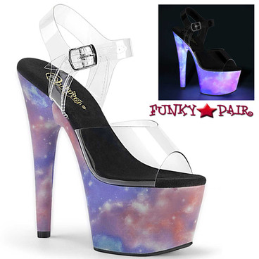 Pleaser | Adore-708REFL, Platform Sandal with Reflective Galaxy
