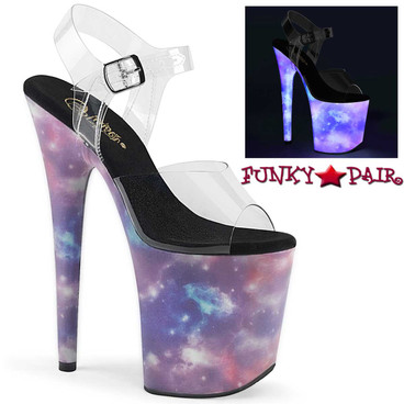 Pleaser | Flamingo-808REFL, Platform Sandal with Galaxy Effect