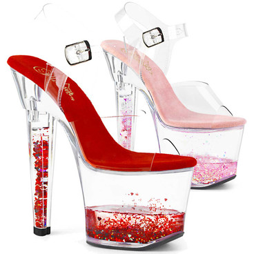 """Lovesick-708GH, 7"""" Floating Liquid and Hearts by Pleaser Shoes"""