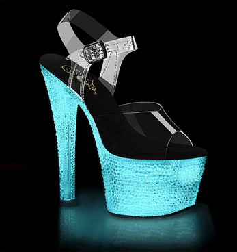Light-Up Stripper Shoes w/Crystal Stones Flashdance-708XTAL by Pleaser