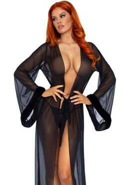 LA86110, Long Black Sheer Robe by Leg Avenue