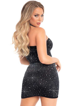 Leg Avenue LA86153, Spandex Rhinestone Tube Dress Back View