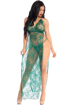 Leg Avenue LA86118, Lace Long Gown with Dual Slit