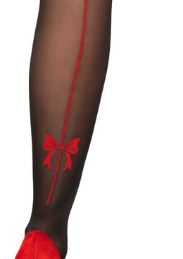 Sheer Pantyhose with Red Bow Accent by Leg Avenue LA7956