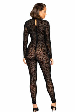 R-LI376, Velvet Leopard Bodysuit by Roma back view