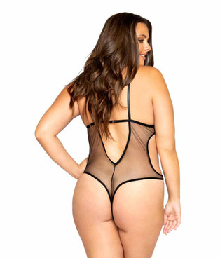 LI354X, Plus Size Glittered Teddy with Chain back View