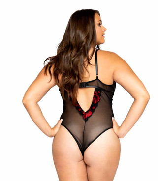 LI352X, Plus Size Floral Lace Teddy by Roma back view