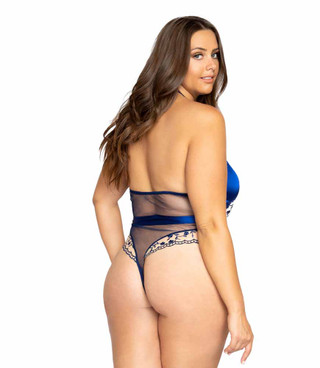 LI343X, Plus Size Low Plunge Floral Embroidery by Roma back view