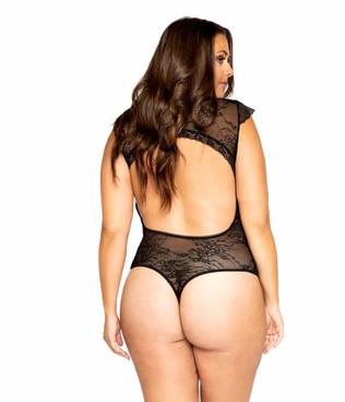 LI326X, Women's Plus Size Cap Sleeve Crotchless Teddy back view