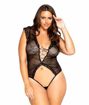 Roma R-LI326X, Women's Plus Size Cap Sleeve Crotchless Teddy