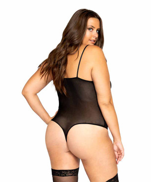LI324X Women's Plus Size Netted Matte Bodysuit by Roma back view