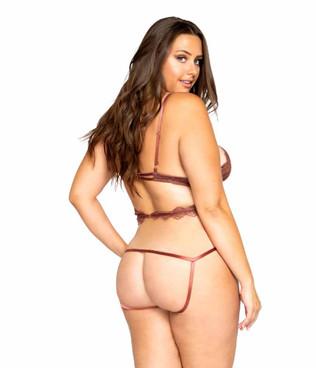 LI321X Women's Plus Size Multiple Cutout Eyelash Teddy by Roma back view