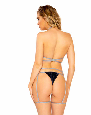 R-LI304 Women's Grey Bra Set by Roma back view