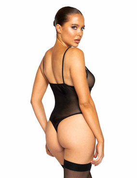 Roma R-LI324 Women's Netted Matte Bodysuit back view