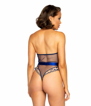 Roma R-LI343 Women's Low Plunge Floral Embroidery back view