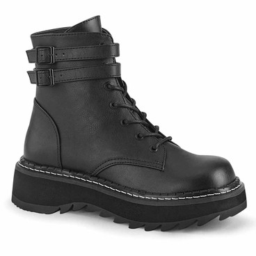 Demonia | Lilith-152, Women's Punk Lace-up Ankle Boots black vegan leather