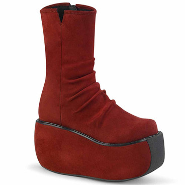 Demonia | Violet-100, Platform Ankle Boots with Ruched Front burgundy faux suede