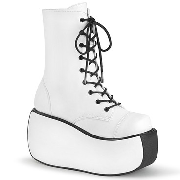 Demonia | Violet-120, Gothic Lace-up Ankle Boots white vegan leather