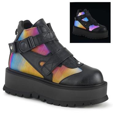Demonia | Slacker-32, Gothic Rainbow Ankle Boots