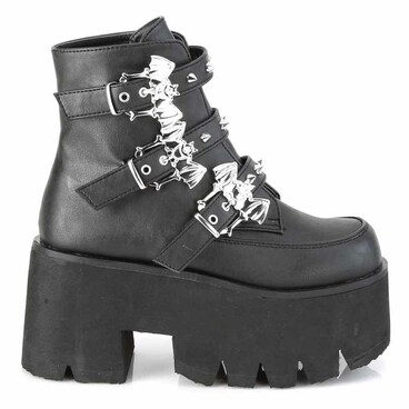 Demonia | ASHES-55, Goth Chunky Platform with Bats Buckle black vegan leather