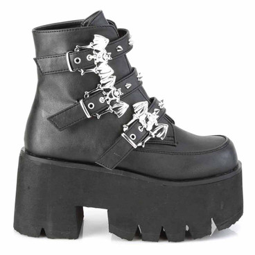 Demonia | ASHES-55, Goth Chunky Platform with Bats Buckle black vegan leather