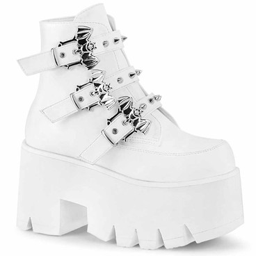 Demonia | ASHES-55, Goth Chunky Platform with Bats Buckle white vegan leather