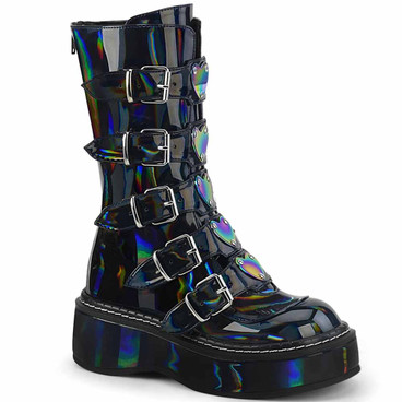 Demonia | Emily-330, Buckles with Heart Plate Mid Calf Boots color black hologram
