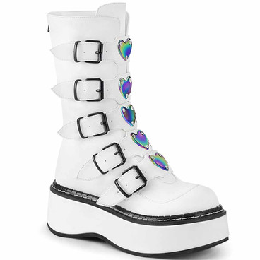 Demonia | Emily-330, Buckles with Heart Plate Mid Calf Boots white vegan leather