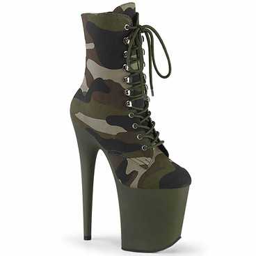 Pleaser | Flamingo-1020CAMO, Camo Print Ankle Boots