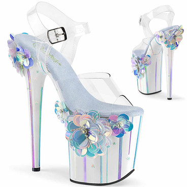 Pleaser | Flamingo-808SQFL, Ankle Strap Platform Sandal with Sequin Flowers Applique