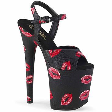 Pleaser | Flamingo-809KISSES 8 Inch Lip Print Sandal black faux leather