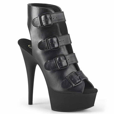 Pleaser | Delight-683, Adjustable Multi Buckles Strap Ankle Boots