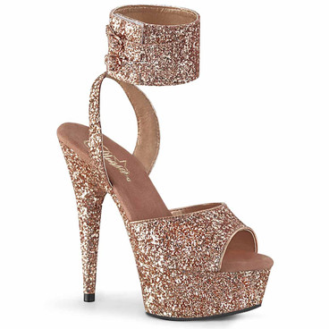 Delight-691, Rose Gold Glitter Ankle Cuff Platform Sandal by Pleaser
