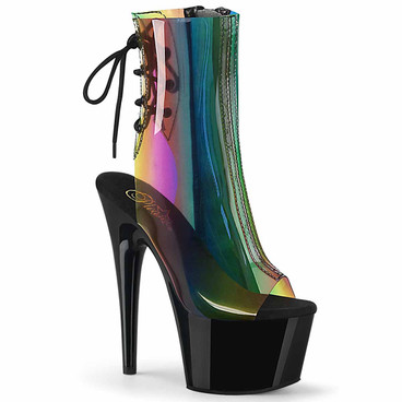 Pleaser | Adore-1018C-RB, Translucent Rainbow Ankle Boots
