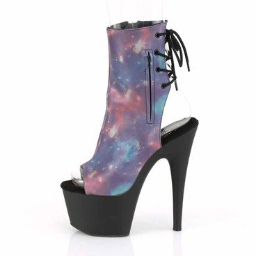 Adore-1018REFL, Open Toe Ankle Boots with Reflective Galaxy Print by Pleaser side view