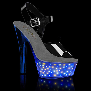 Pleaser | Echolite-208, 6 Inch Stripper Sandal with Mini Star Light-up