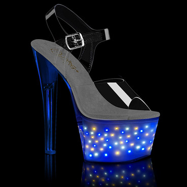 Echolite-708, Exotic Dancer Shoes with Mini Star Light-up by Pleaser
