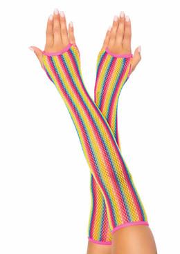 Leg Avenue | LA2036, Rainbow Net Arm Warmers