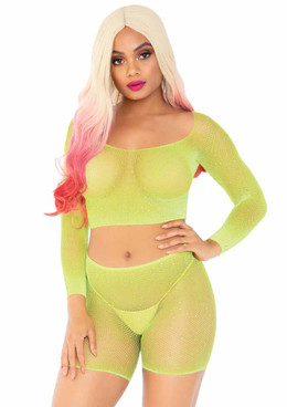 Leg Avenue | LA89249, Rainbow Net Romper color neon yellow